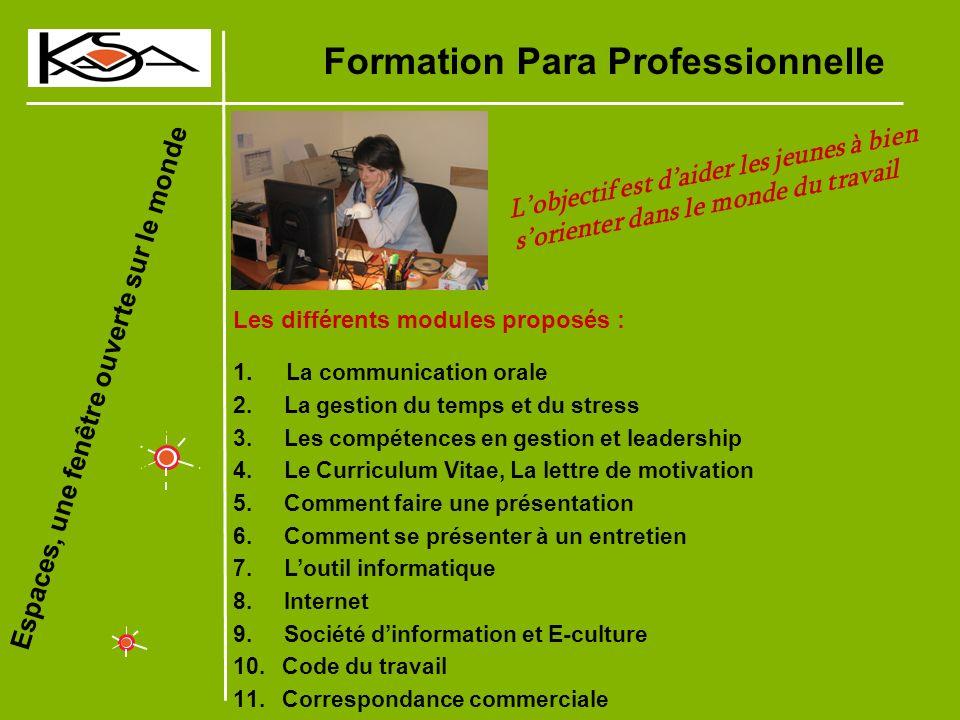 Espaces, une fenêtre ouverte sur le monde Formation Para Professionnelle Les différents modules proposés : 1.
