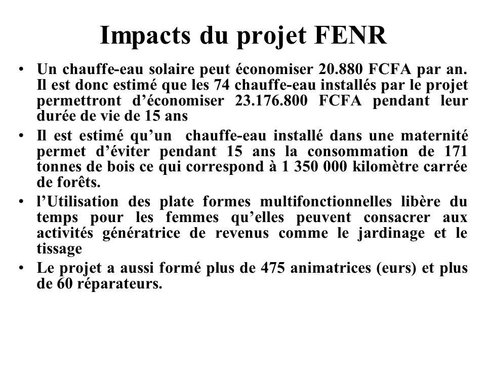 Impacts du projet FENR Un chauffe-eau solaire peut économiser 20.880 FCFA par an. Il est donc estimé que les 74 chauffe-eau installés par le projet pe