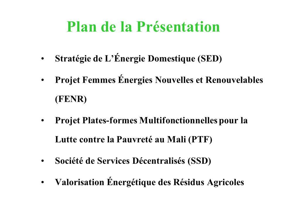 Plan de la Présentation Stratégie de LÉnergie Domestique (SED) Projet Femmes Énergies Nouvelles et Renouvelables (FENR) Projet Plates-formes Multifonc