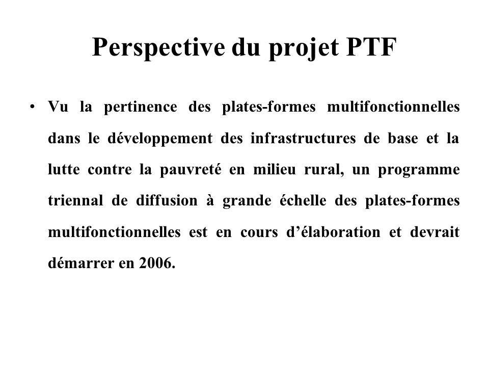 Perspective du projet PTF Vu la pertinence des plates-formes multifonctionnelles dans le développement des infrastructures de base et la lutte contre