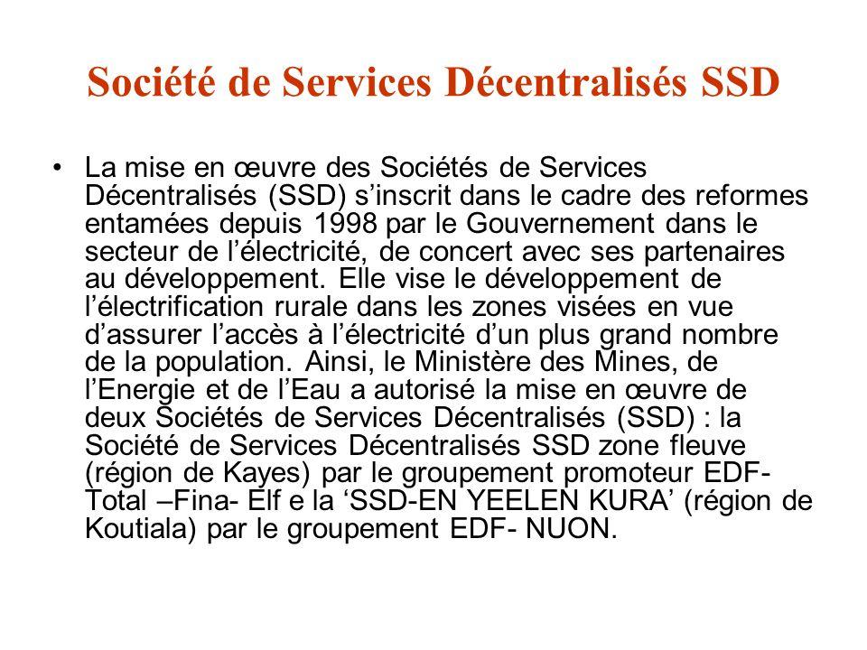 Société de Services Décentralisés SSD La mise en œuvre des Sociétés de Services Décentralisés (SSD) sinscrit dans le cadre des reformes entamées depui