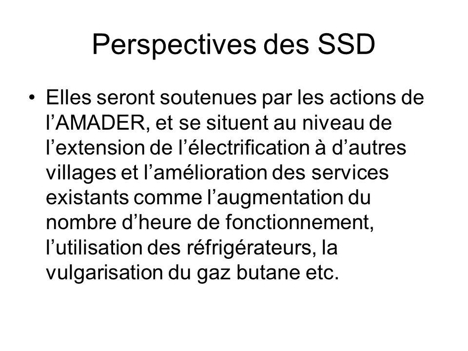 Perspectives des SSD Elles seront soutenues par les actions de lAMADER, et se situent au niveau de lextension de lélectrification à dautres villages e
