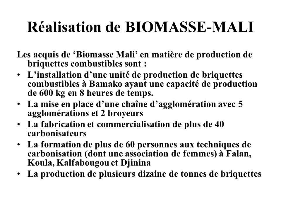 Réalisation de BIOMASSE-MALI Les acquis de Biomasse Mali en matière de production de briquettes combustibles sont : Linstallation dune unité de produc