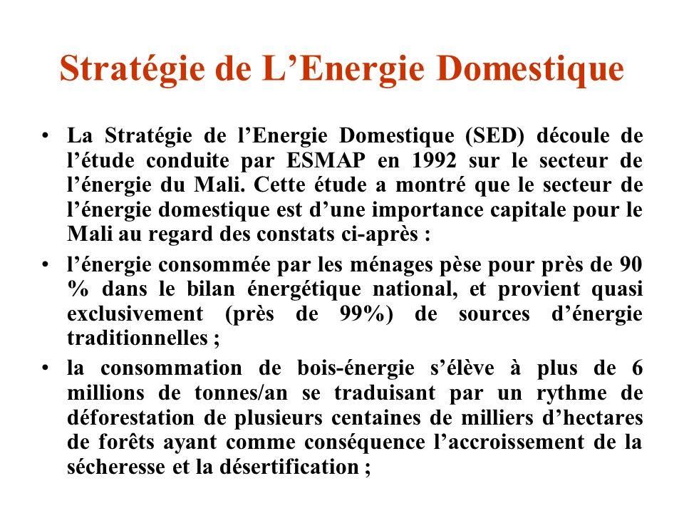 Stratégie de LEnergie Domestique La Stratégie de lEnergie Domestique (SED) découle de létude conduite par ESMAP en 1992 sur le secteur de lénergie du