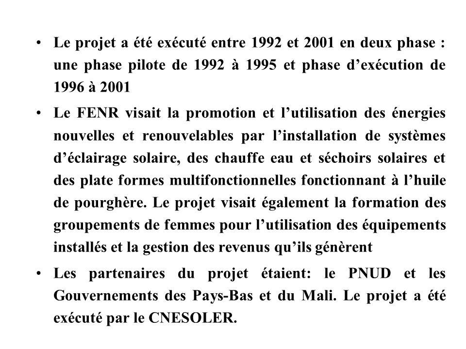 Le projet a été exécuté entre 1992 et 2001 en deux phase : une phase pilote de 1992 à 1995 et phase dexécution de 1996 à 2001 Le FENR visait la promot