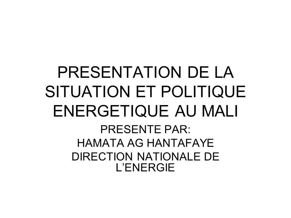 PRESENTATION DE LA SITUATION ET POLITIQUE ENERGETIQUE AU MALI PRESENTE PAR: HAMATA AG HANTAFAYE DIRECTION NATIONALE DE LENERGIE