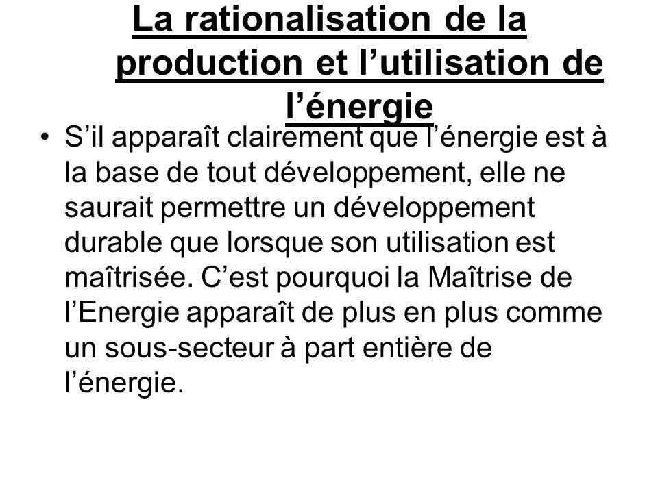 La rationalisation de la production et lutilisation de lénergie Sil apparaît clairement que lénergie est à la base de tout développement, elle ne saur