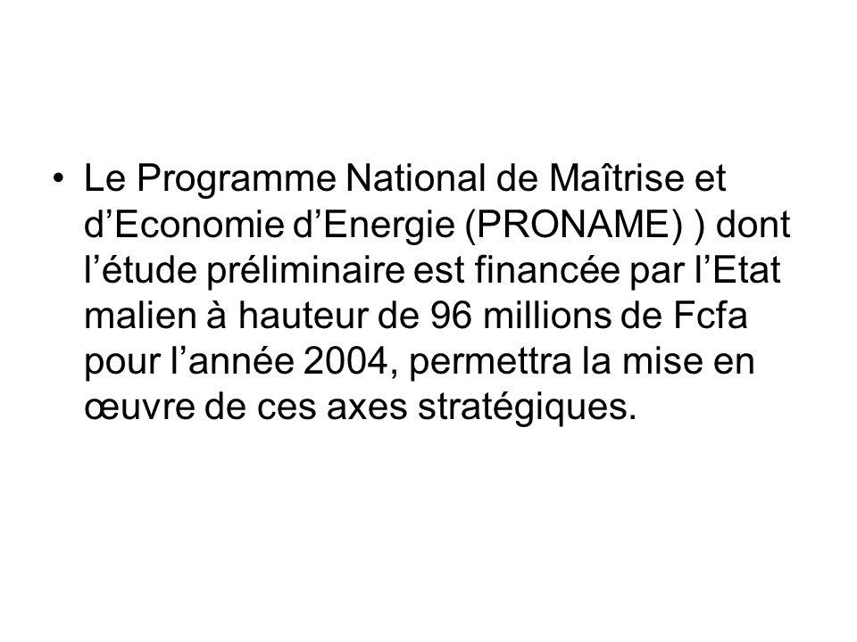 Le Programme National de Maîtrise et dEconomie dEnergie (PRONAME) ) dont létude préliminaire est financée par lEtat malien à hauteur de 96 millions de