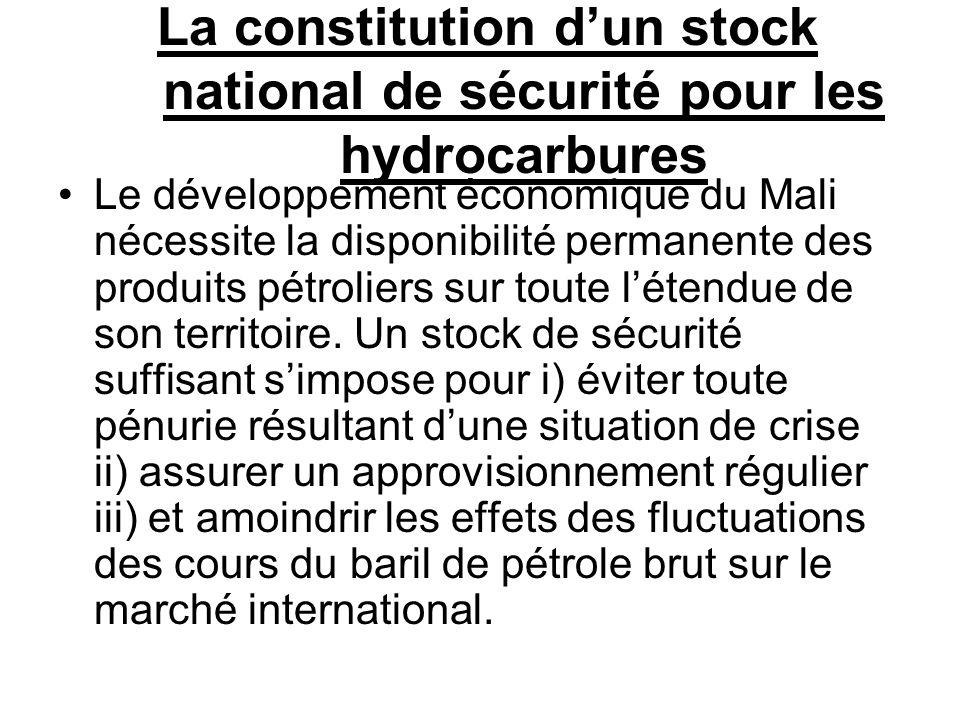 La constitution dun stock national de sécurité pour les hydrocarbures Le développement économique du Mali nécessite la disponibilité permanente des pr