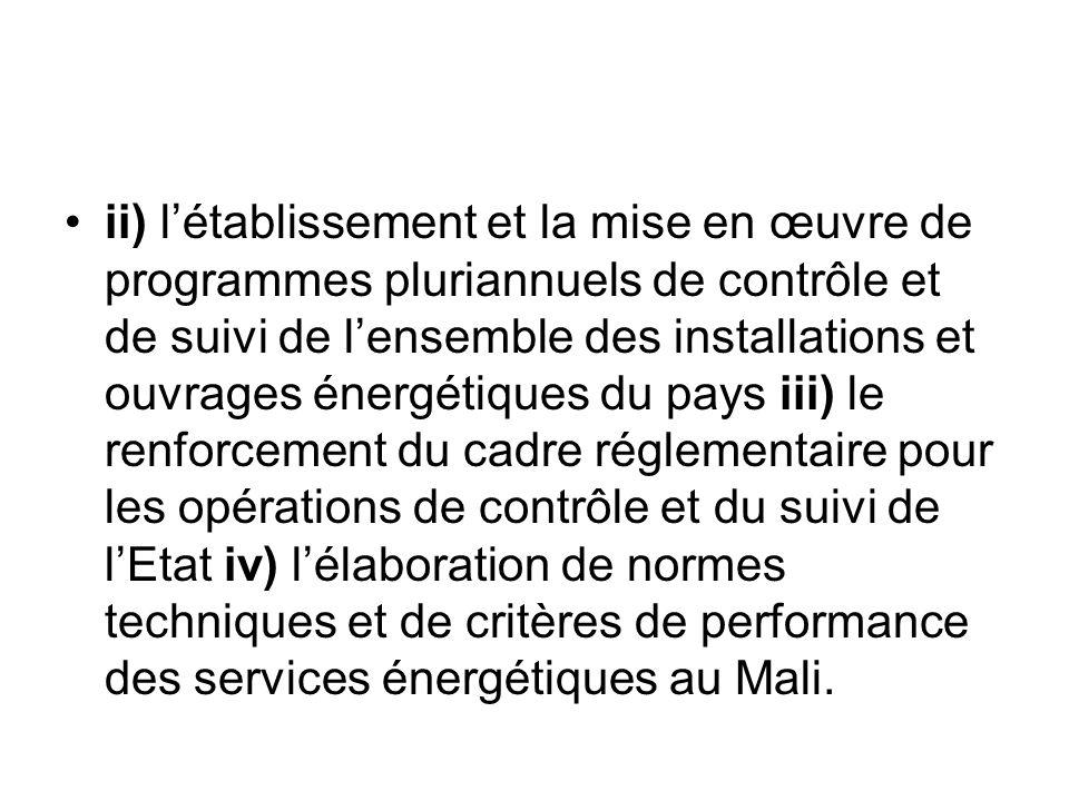 ii) létablissement et la mise en œuvre de programmes pluriannuels de contrôle et de suivi de lensemble des installations et ouvrages énergétiques du p