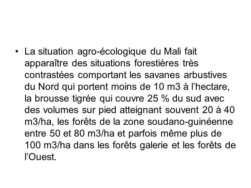 La situation agro-écologique du Mali fait apparaître des situations forestières très contrastées comportant les savanes arbustives du Nord qui portent