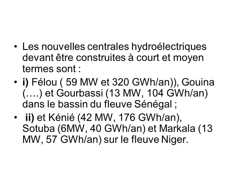 Les nouvelles centrales hydroélectriques devant être construites à court et moyen termes sont : i) Félou ( 59 MW et 320 GWh/an)), Gouina (….) et Gourb
