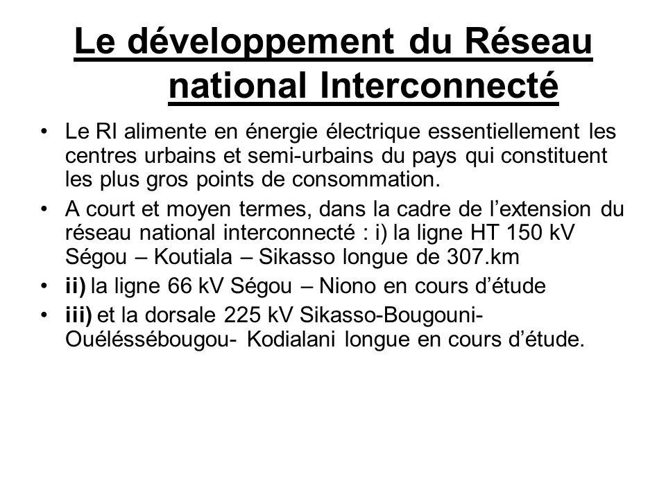 Le développement du Réseau national Interconnecté Le RI alimente en énergie électrique essentiellement les centres urbains et semi-urbains du pays qui