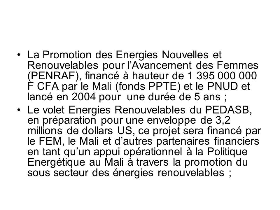 La Promotion des Energies Nouvelles et Renouvelables pour lAvancement des Femmes (PENRAF), financé à hauteur de 1 395 000 000 F CFA par le Mali (fonds