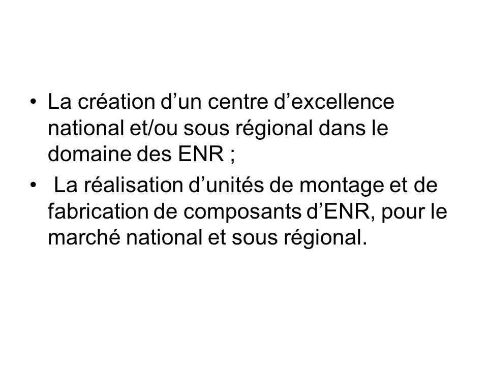 La création dun centre dexcellence national et/ou sous régional dans le domaine des ENR ; La réalisation dunités de montage et de fabrication de compo