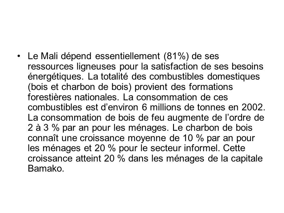 Le Mali dépend essentiellement (81%) de ses ressources ligneuses pour la satisfaction de ses besoins énergétiques. La totalité des combustibles domest