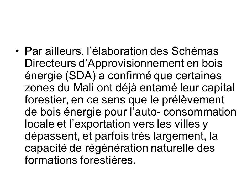 Par ailleurs, lélaboration des Schémas Directeurs dApprovisionnement en bois énergie (SDA) a confirmé que certaines zones du Mali ont déjà entamé leur