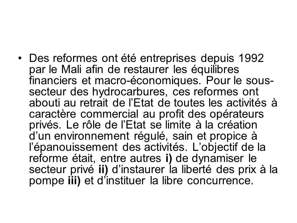 Des reformes ont été entreprises depuis 1992 par le Mali afin de restaurer les équilibres financiers et macro-économiques. Pour le sous- secteur des h