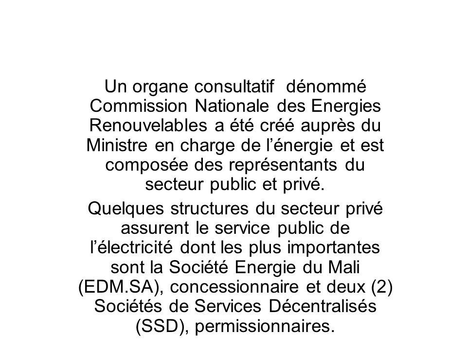 Un organe consultatif dénommé Commission Nationale des Energies Renouvelables a été créé auprès du Ministre en charge de lénergie et est composée des
