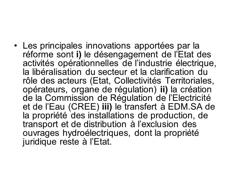 Les principales innovations apportées par la réforme sont i) le désengagement de lEtat des activités opérationnelles de lindustrie électrique, la libé
