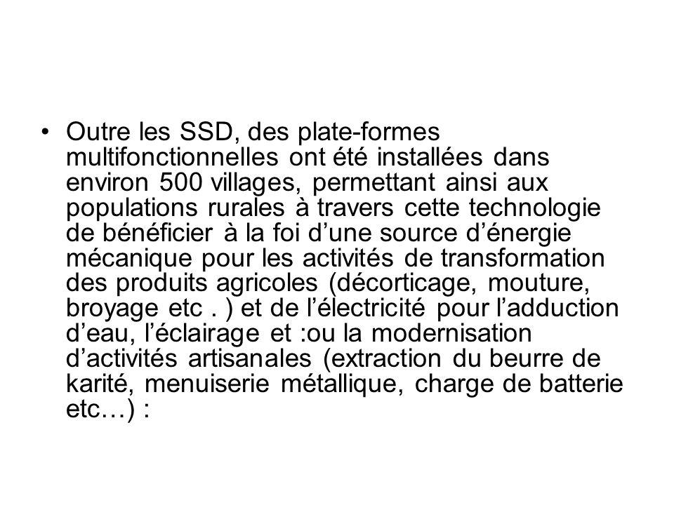 Outre les SSD, des plate-formes multifonctionnelles ont été installées dans environ 500 villages, permettant ainsi aux populations rurales à travers c