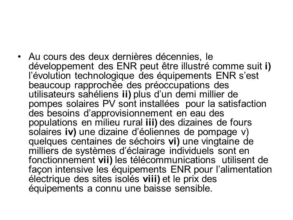 Au cours des deux dernières décennies, le développement des ENR peut être illustré comme suit i) lévolution technologique des équipements ENR sest bea