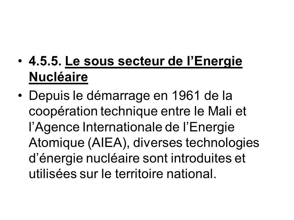 4.5.5. Le sous secteur de lEnergie Nucléaire Depuis le démarrage en 1961 de la coopération technique entre le Mali et lAgence Internationale de lEnerg