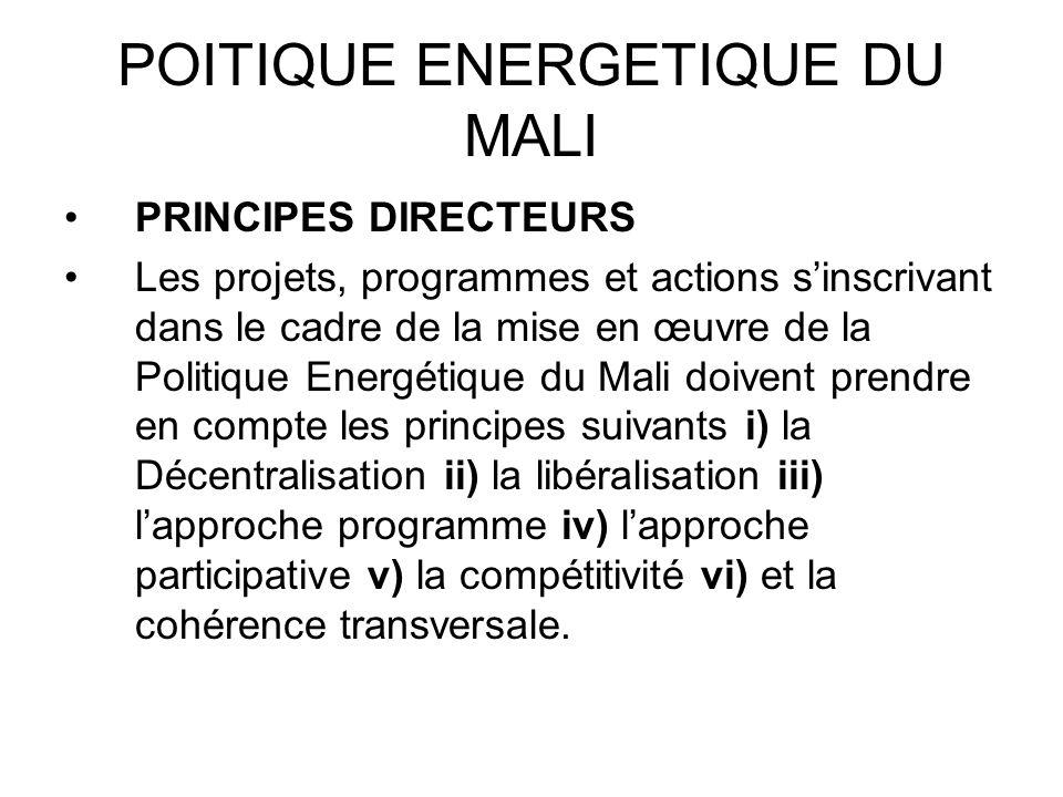 POITIQUE ENERGETIQUE DU MALI PRINCIPES DIRECTEURS Les projets, programmes et actions sinscrivant dans le cadre de la mise en œuvre de la Politique Ene