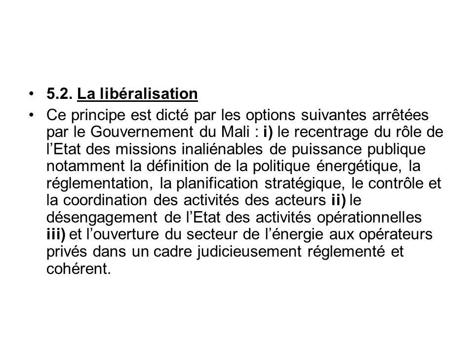 5.2. La libéralisation Ce principe est dicté par les options suivantes arrêtées par le Gouvernement du Mali : i) le recentrage du rôle de lEtat des mi