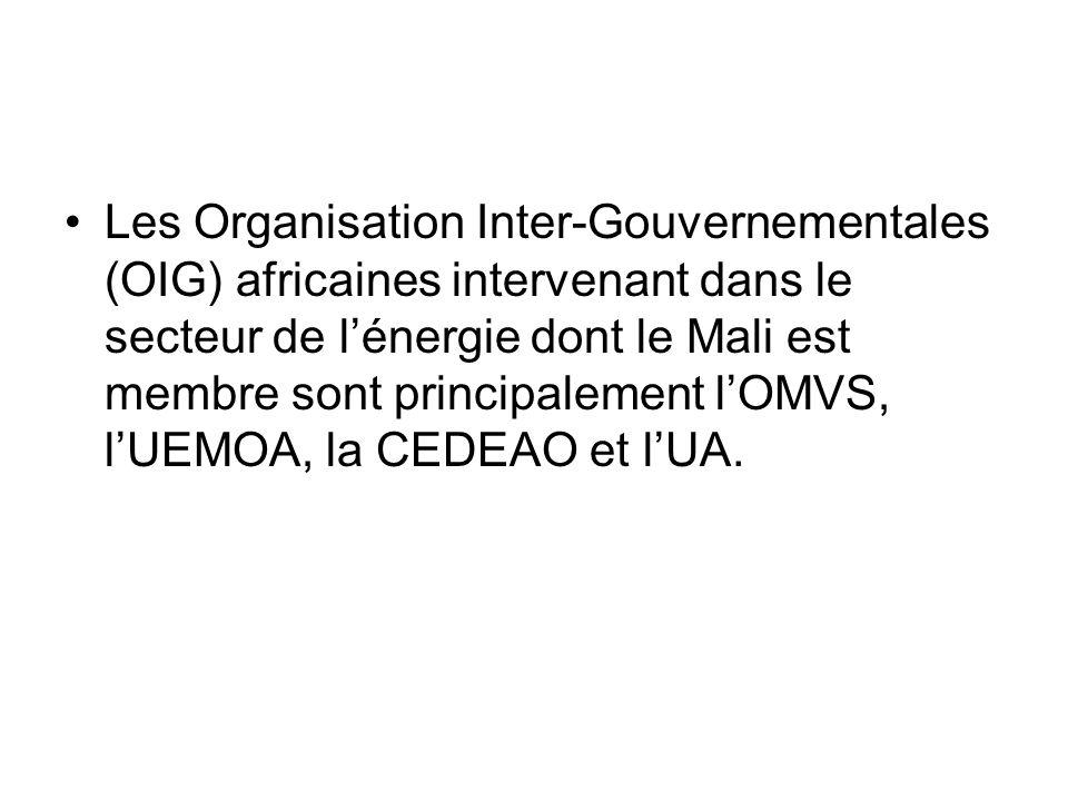 Les Organisation Inter-Gouvernementales (OIG) africaines intervenant dans le secteur de lénergie dont le Mali est membre sont principalement lOMVS, lU