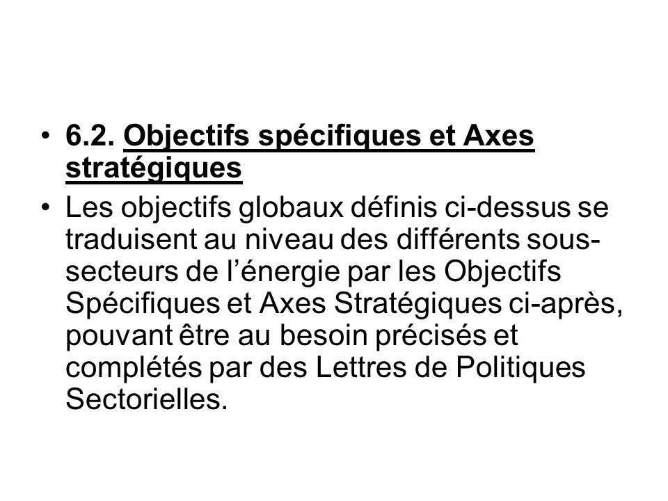 6.2. Objectifs spécifiques et Axes stratégiques Les objectifs globaux définis ci-dessus se traduisent au niveau des différents sous- secteurs de léner