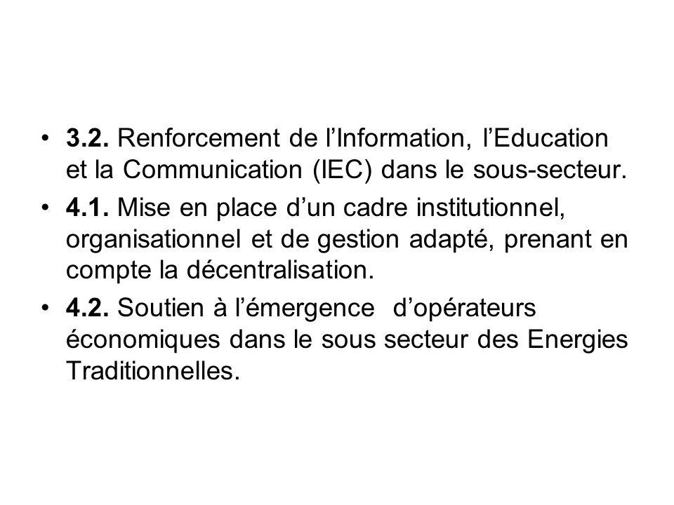 3.2. Renforcement de lInformation, lEducation et la Communication (IEC) dans le sous-secteur. 4.1. Mise en place dun cadre institutionnel, organisatio