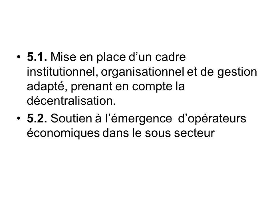5.1. Mise en place dun cadre institutionnel, organisationnel et de gestion adapté, prenant en compte la décentralisation. 5.2. Soutien à lémergence do
