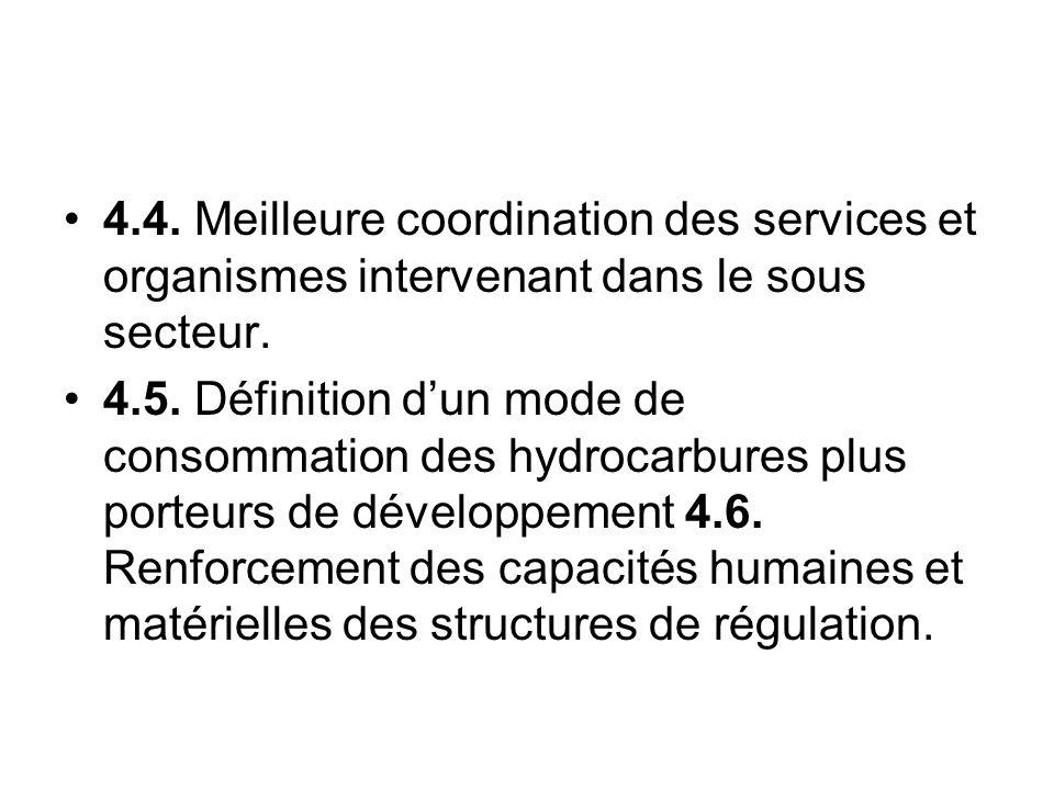 4.4. Meilleure coordination des services et organismes intervenant dans le sous secteur. 4.5. Définition dun mode de consommation des hydrocarbures pl