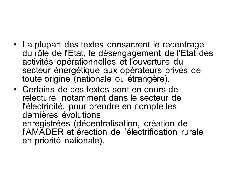La plupart des textes consacrent le recentrage du rôle de lEtat, le désengagement de lEtat des activités opérationnelles et louverture du secteur éner
