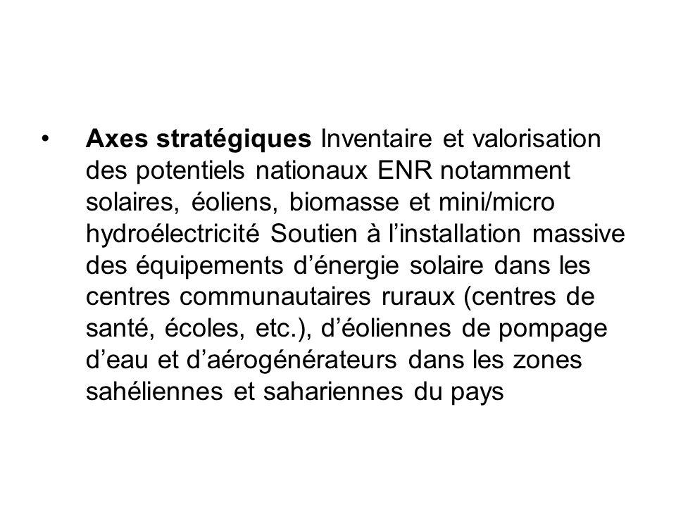 Axes stratégiques Inventaire et valorisation des potentiels nationaux ENR notamment solaires, éoliens, biomasse et mini/micro hydroélectricité Soutien