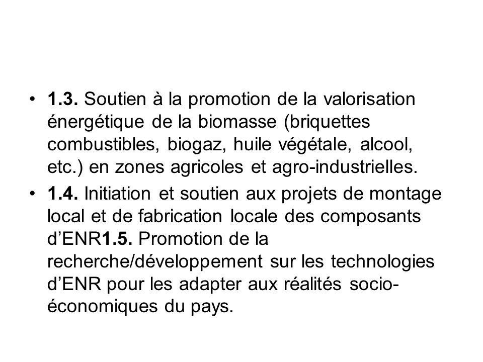 1.3. Soutien à la promotion de la valorisation énergétique de la biomasse (briquettes combustibles, biogaz, huile végétale, alcool, etc.) en zones agr
