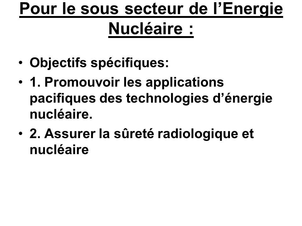 Pour le sous secteur de lEnergie Nucléaire : Objectifs spécifiques: 1. Promouvoir les applications pacifiques des technologies dénergie nucléaire. 2.