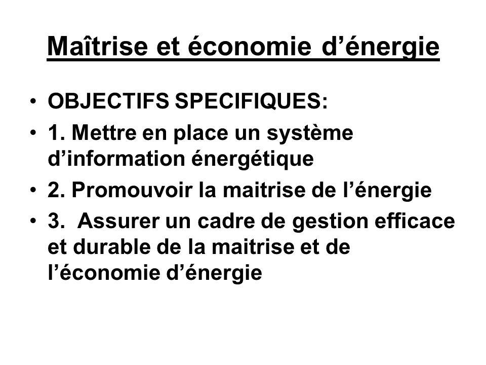 Maîtrise et économie dénergie OBJECTIFS SPECIFIQUES: 1. Mettre en place un système dinformation énergétique 2. Promouvoir la maitrise de lénergie 3. A