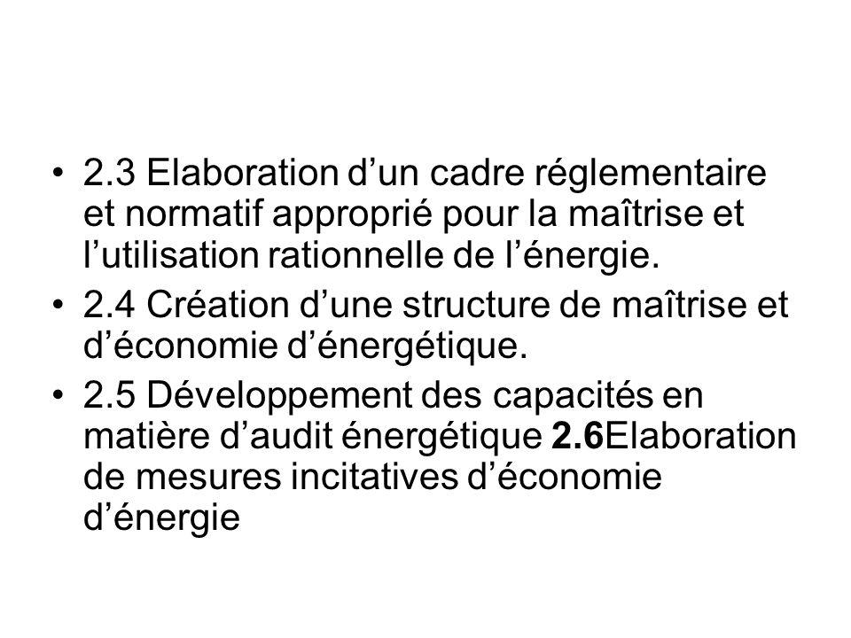 2.3 Elaboration dun cadre réglementaire et normatif approprié pour la maîtrise et lutilisation rationnelle de lénergie. 2.4 Création dune structure de