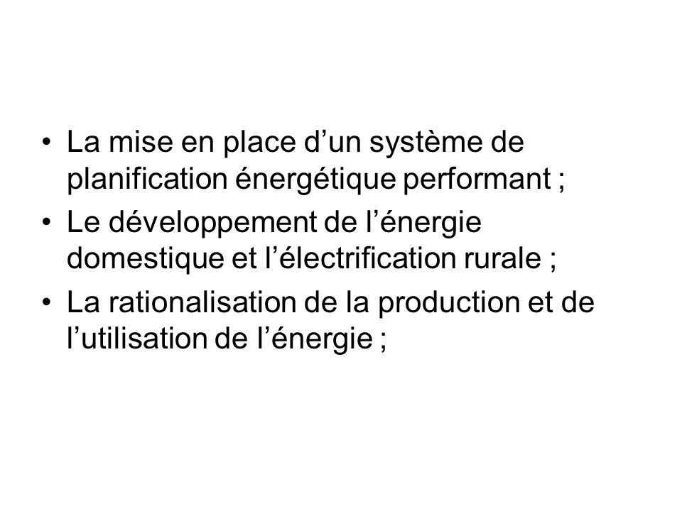 La mise en place dun système de planification énergétique performant ; Le développement de lénergie domestique et lélectrification rurale ; La rationa