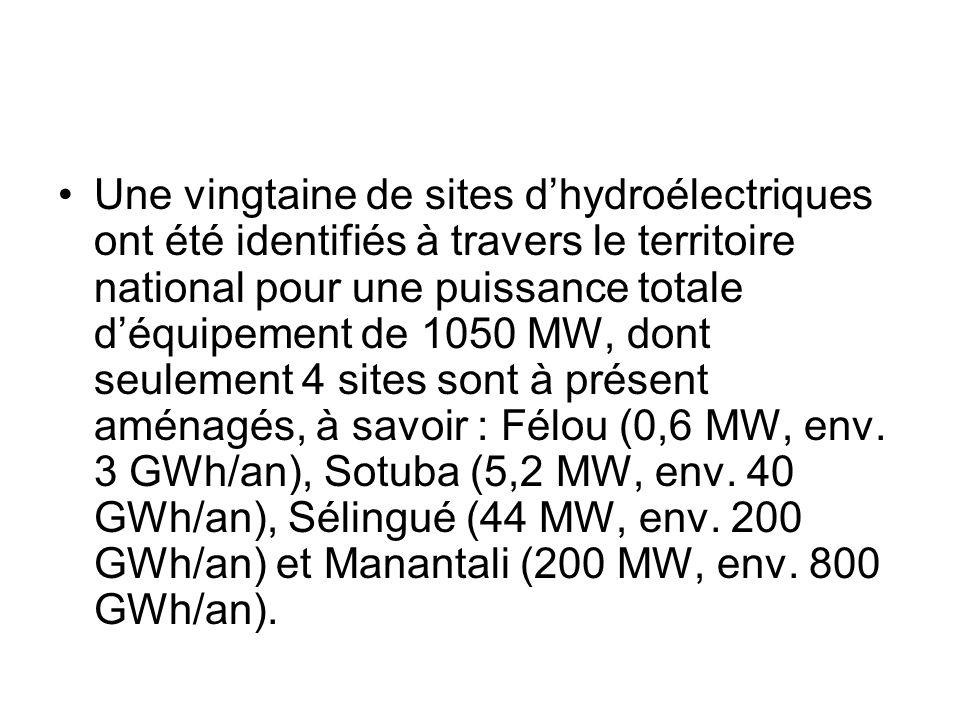 Une vingtaine de sites dhydroélectriques ont été identifiés à travers le territoire national pour une puissance totale déquipement de 1050 MW, dont se