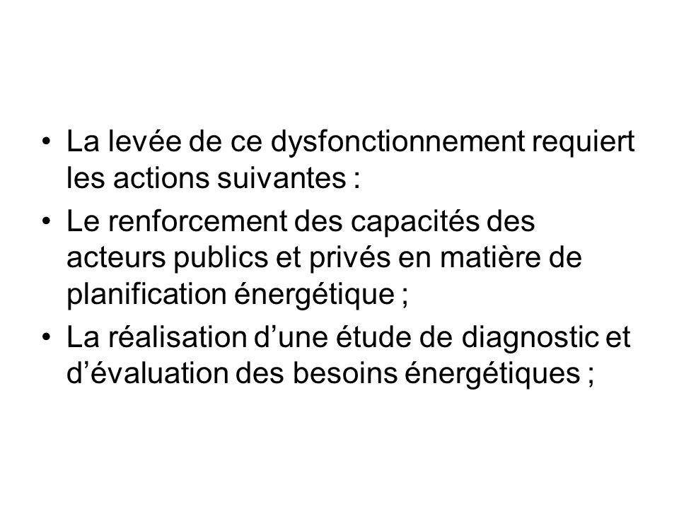 La levée de ce dysfonctionnement requiert les actions suivantes : Le renforcement des capacités des acteurs publics et privés en matière de planificat