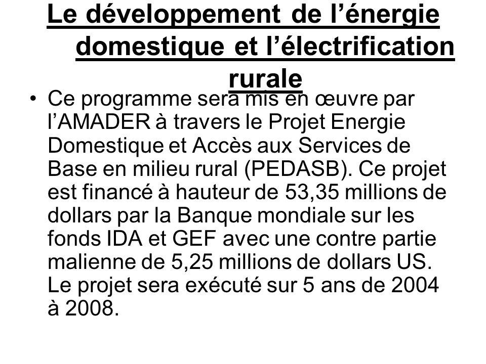 Le développement de lénergie domestique et lélectrification rurale Ce programme sera mis en œuvre par lAMADER à travers le Projet Energie Domestique e