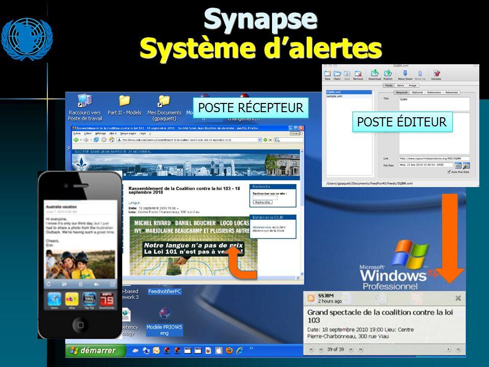 Synapse Système dalertes POSTE RÉCEPTEUR POSTE ÉDITEUR