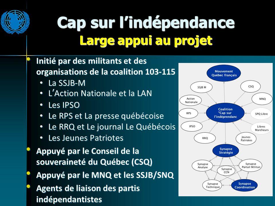 Cap sur lindépendance Large appui au projet Initié par des militants et des organisations de la coalition 103-115 Initié par des militants et des orga