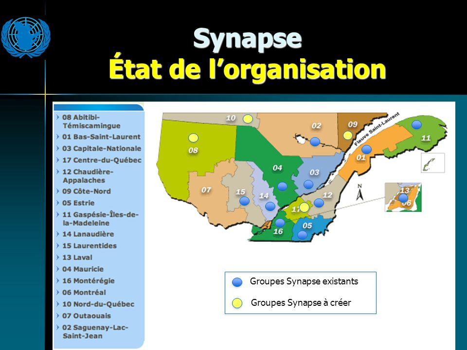 Synapse État de lorganisation Groupes Synapse existants Groupes Synapse à créer
