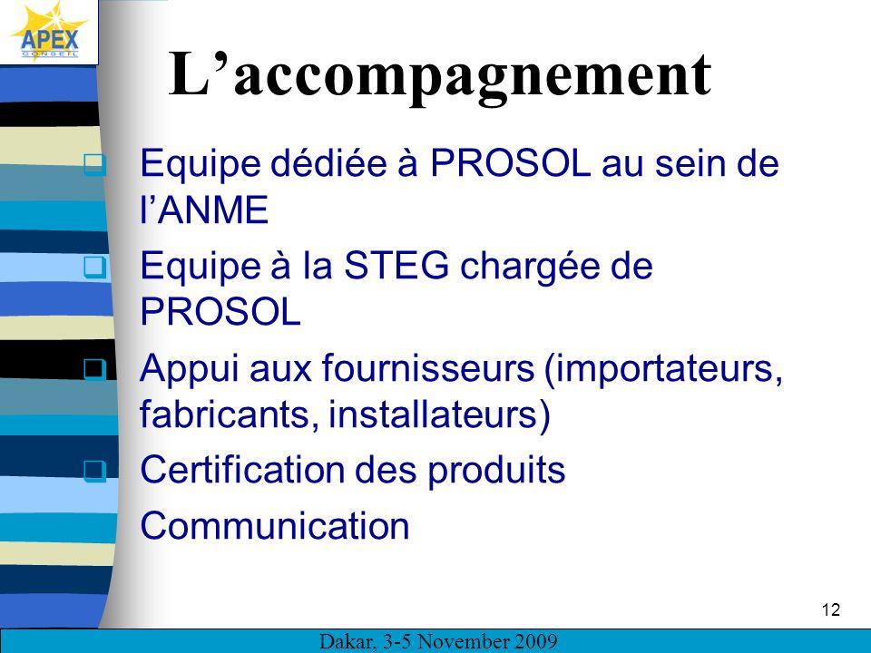 Dakar, 3-5 November 2009 12 Laccompagnement Equipe dédiée à PROSOL au sein de lANME Equipe à la STEG chargée de PROSOL Appui aux fournisseurs (importa