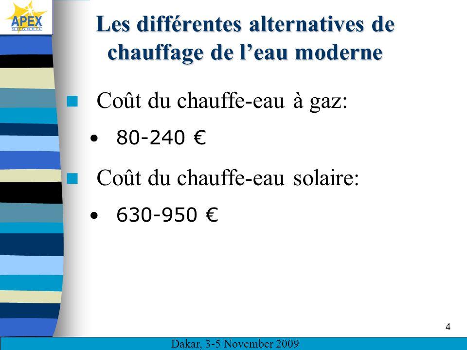 Dakar, 3-5 November 2009 4 Les différentes alternatives de chauffage de leau moderne Coût du chauffe-eau à gaz: 80-240 Coût du chauffe-eau solaire: 630-950
