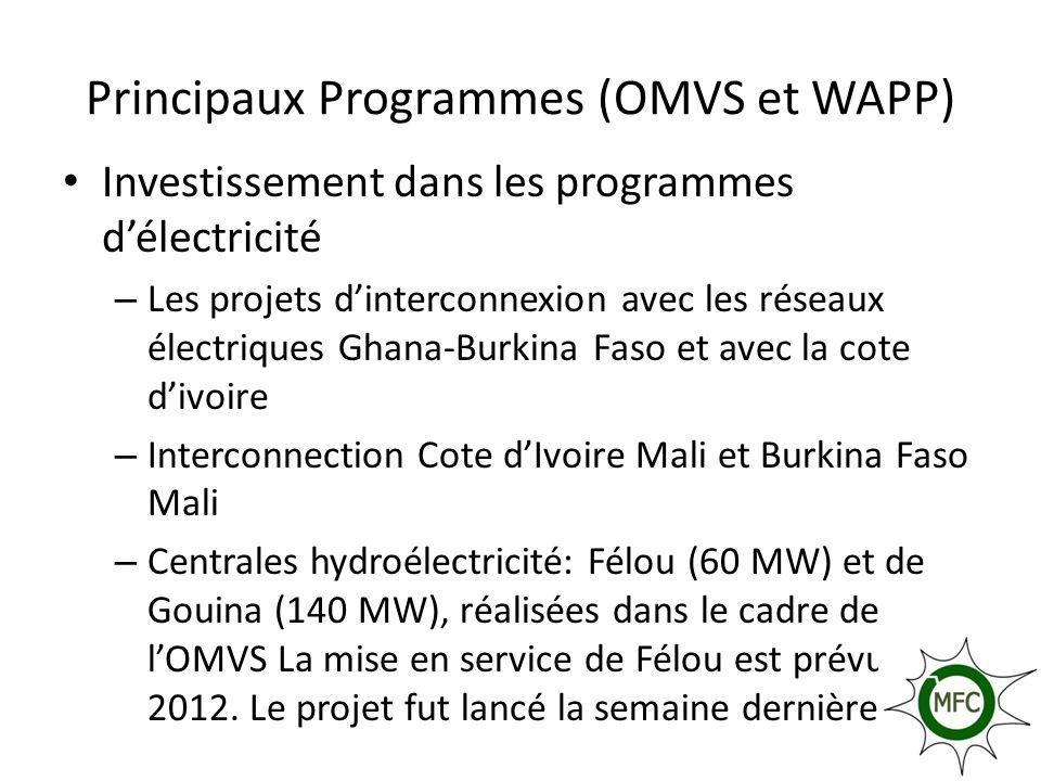 Principaux Programmes (OMVS et WAPP) Investissement dans les programmes délectricité – Les projets dinterconnexion avec les réseaux électriques Ghana-